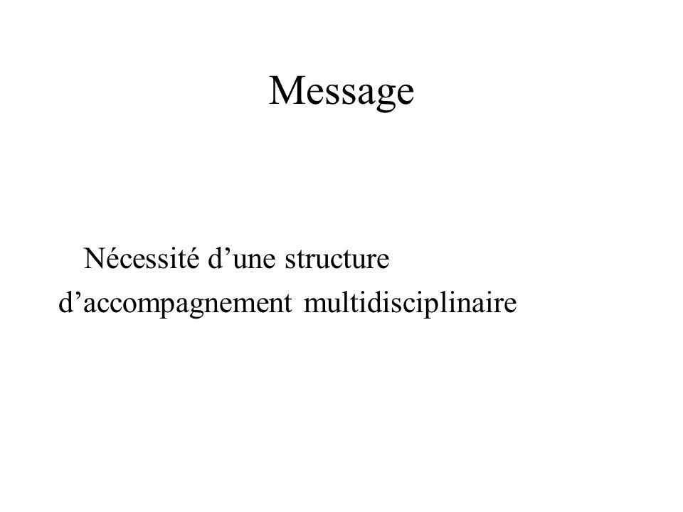 Message Nécessité d'une structure d'accompagnement multidisciplinaire