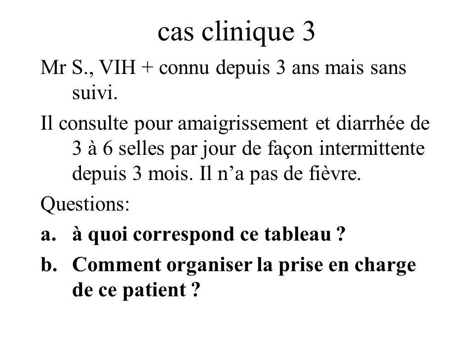 cas clinique 3 Mr S., VIH + connu depuis 3 ans mais sans suivi.