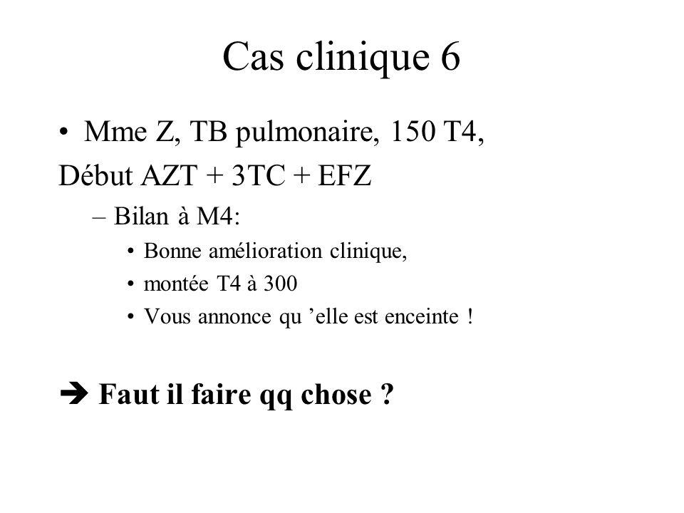 Cas clinique 6 Mme Z, TB pulmonaire, 150 T4, Début AZT + 3TC + EFZ