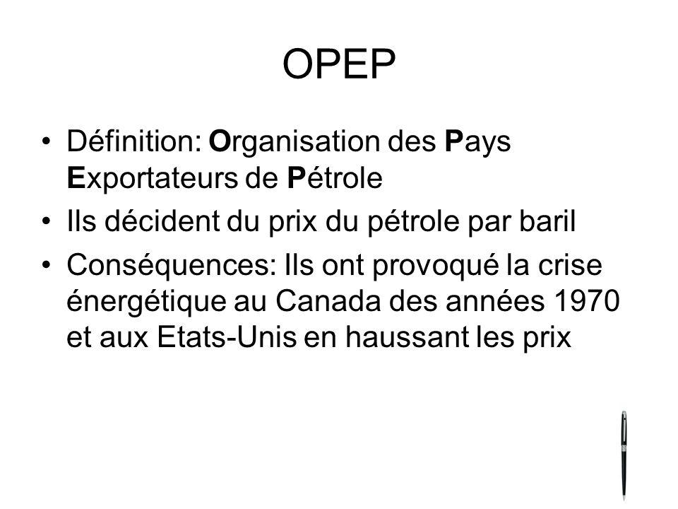 OPEP Définition: Organisation des Pays Exportateurs de Pétrole