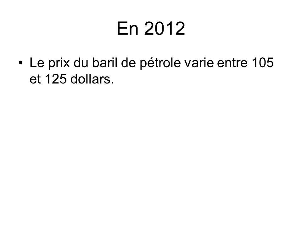 En 2012 Le prix du baril de pétrole varie entre 105 et 125 dollars.