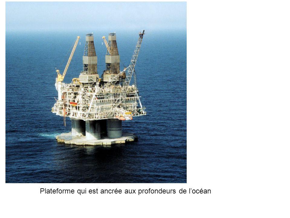 Plateforme qui est ancrée aux profondeurs de l'océan