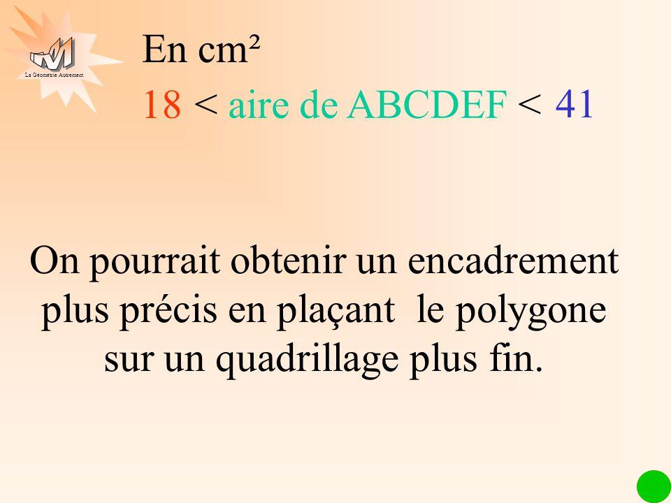 En cm² 18. < aire de ABCDEF < 41.