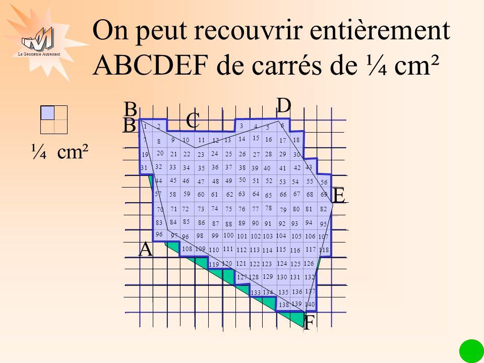 On peut recouvrir entièrement ABCDEF de carrés de ¼ cm²