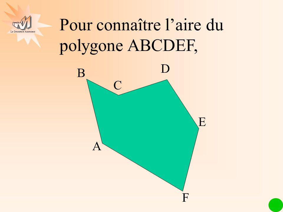 Pour connaître l'aire du polygone ABCDEF,