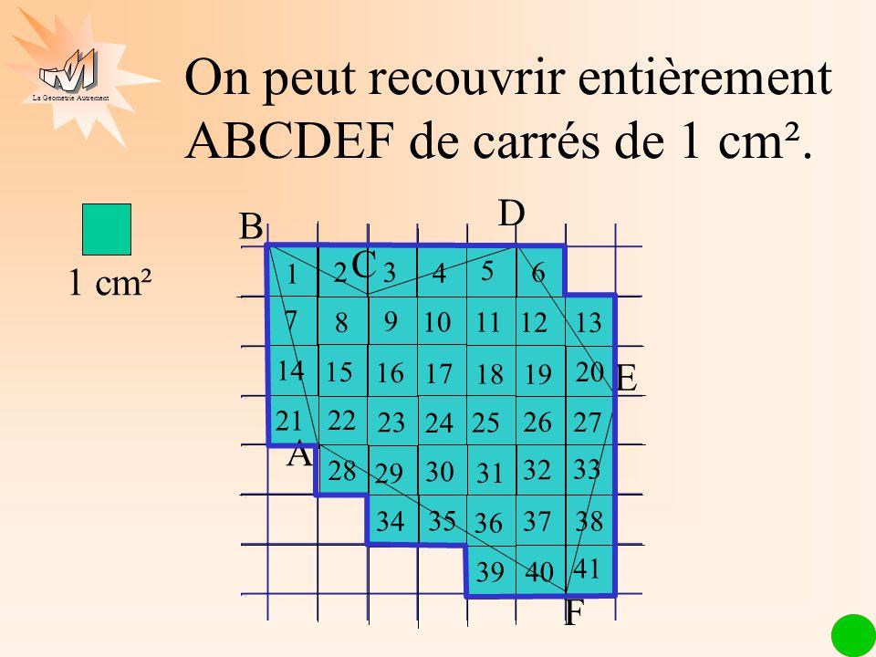 On peut recouvrir entièrement ABCDEF de carrés de 1 cm².