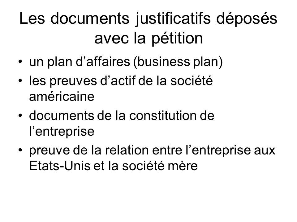 Les documents justificatifs déposés avec la pétition
