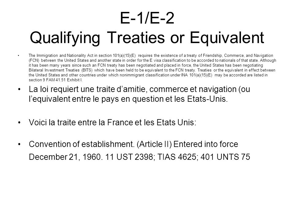 E-1/E-2 Qualifying Treaties or Equivalent