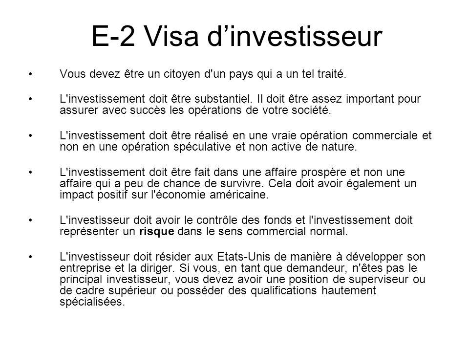 E-2 Visa d'investisseur