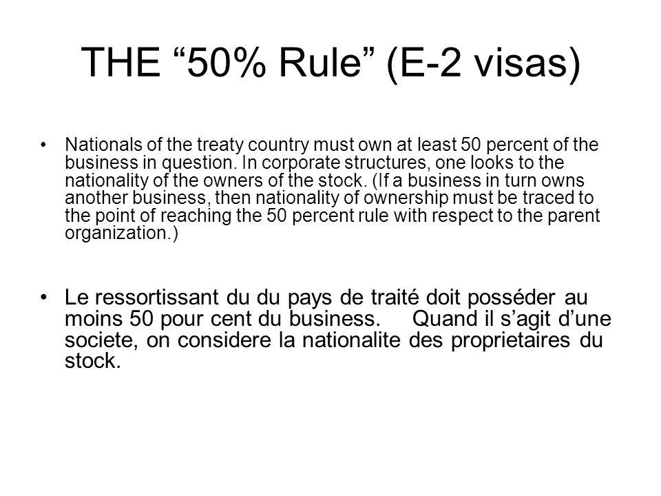 THE 50% Rule (E-2 visas)