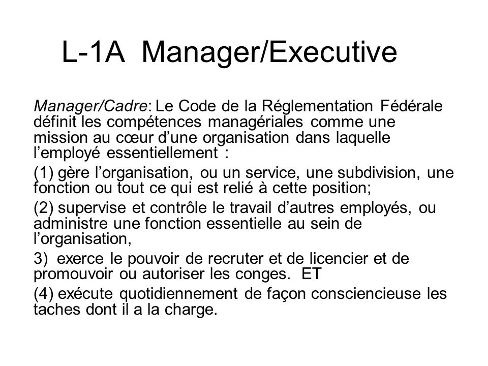 L-1A Manager/Executive