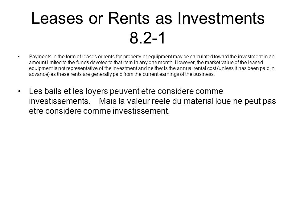 Leases or Rents as Investments 8.2-1