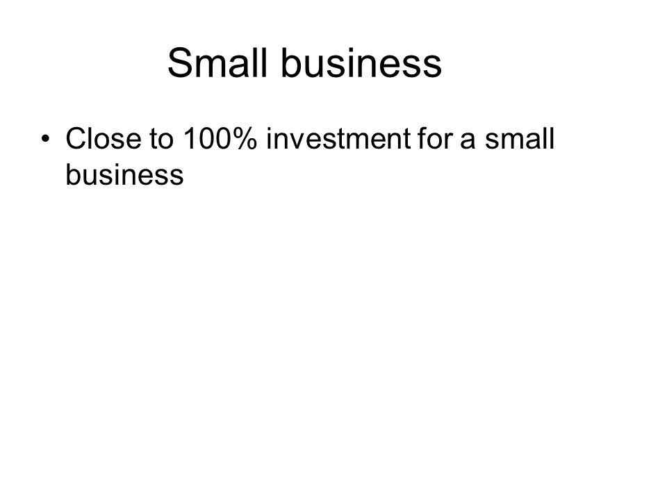 Small business Close to 100% investment for a small business