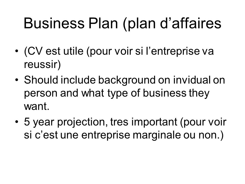 Business Plan (plan d'affaires