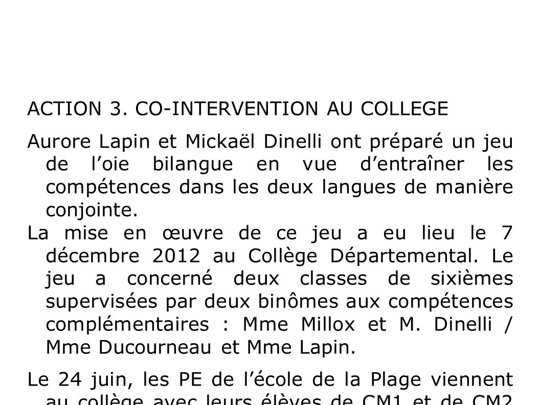 ACTION 3. CO-INTERVENTION AU COLLEGE