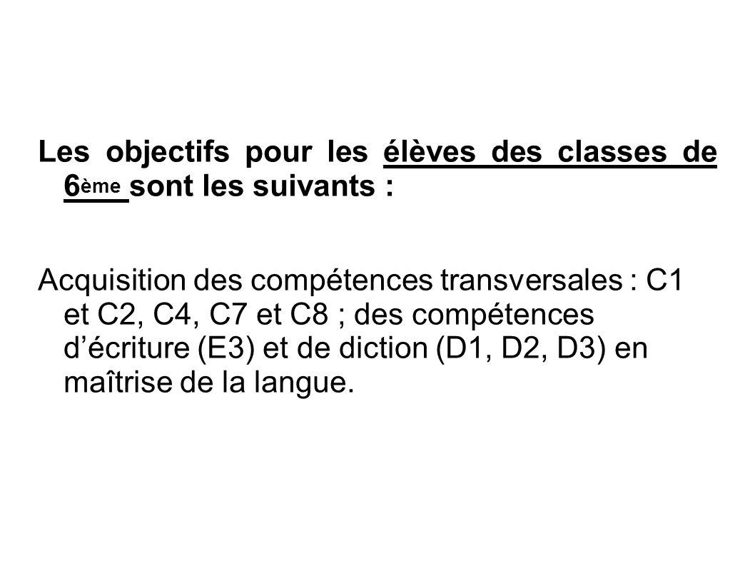 Les objectifs pour les élèves des classes de 6ème sont les suivants :