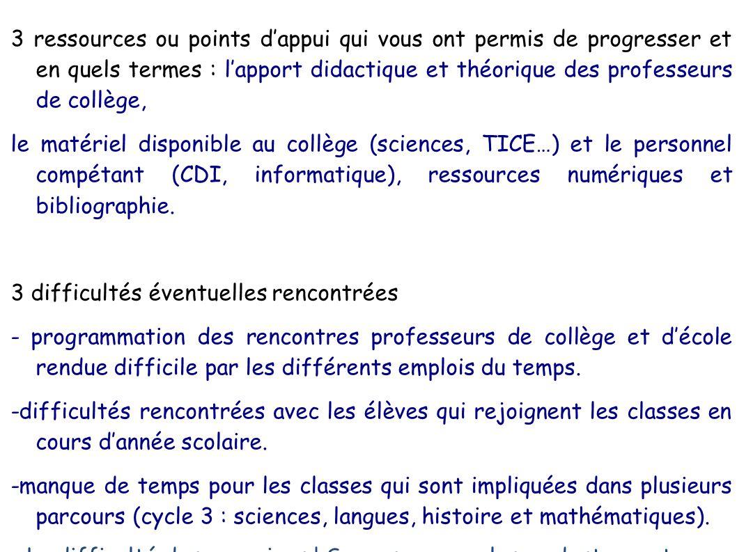 3 ressources ou points d'appui qui vous ont permis de progresser et en quels termes : l'apport didactique et théorique des professeurs de collège,