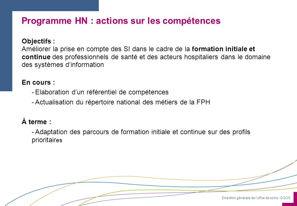 Programme HN : actions sur les compétences