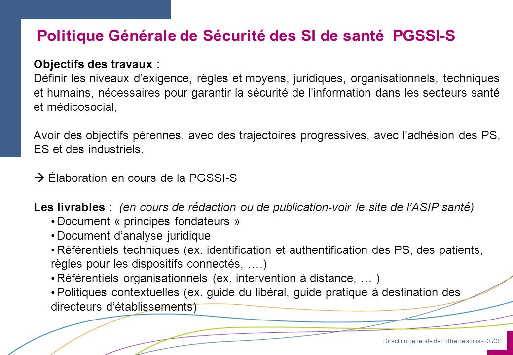Politique Générale de Sécurité des SI de santé PGSSI-S