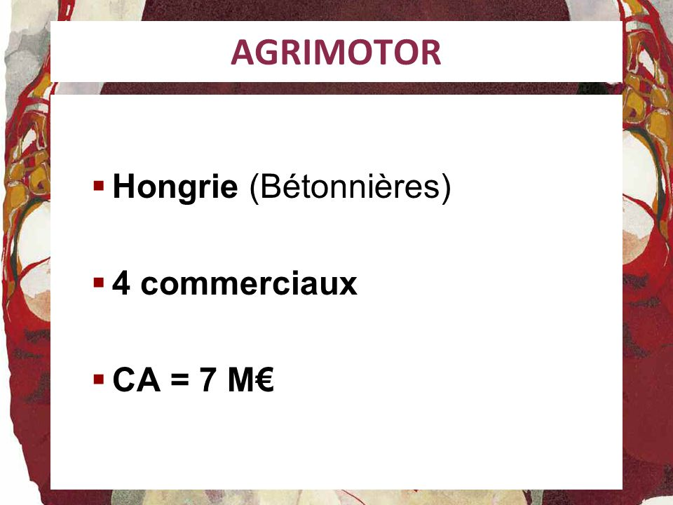 AGRIMOTOR Hongrie (Bétonnières) 4 commerciaux CA = 7 M€