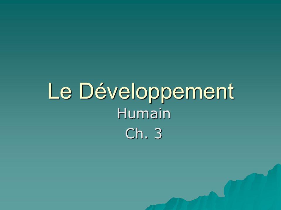 Le Développement Humain Ch. 3