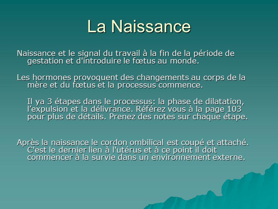 La Naissance Naissance et le signal du travail à la fin de la période de gestation et d introduire le fœtus au monde.