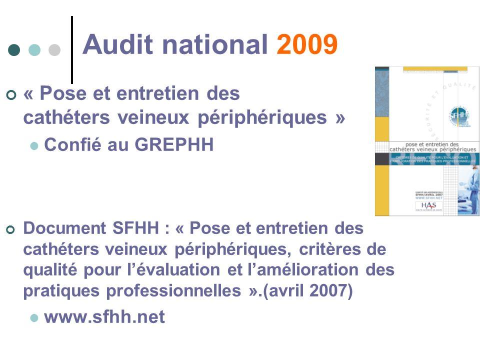 Audit national 2009 « Pose et entretien des cathéters veineux périphériques »