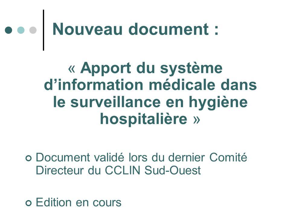 Nouveau document : « Apport du système d'information médicale dans le surveillance en hygiène hospitalière »