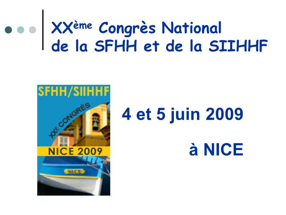 XXème Congrès National de la SFHH et de la SIIHHF