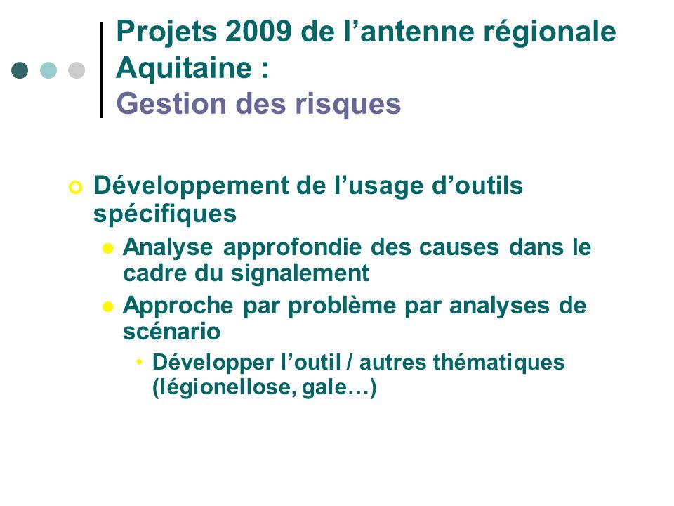 Projets 2009 de l'antenne régionale Aquitaine : Gestion des risques