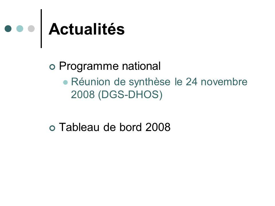 Actualités Programme national Tableau de bord 2008