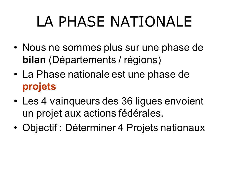 LA PHASE NATIONALENous ne sommes plus sur une phase de bilan (Départements / régions) La Phase nationale est une phase de projets.