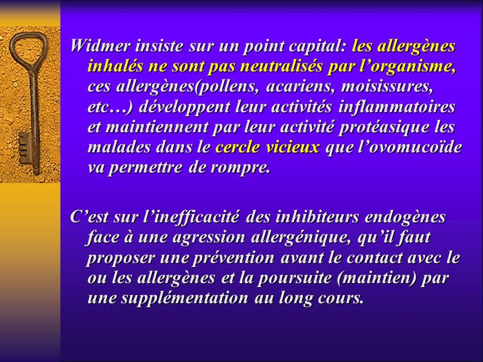 Widmer insiste sur un point capital: les allergènes inhalés ne sont pas neutralisés par l'organisme, ces allergènes(pollens, acariens, moisissures, etc…) développent leur activités inflammatoires et maintiennent par leur activité protéasique les malades dans le cercle vicieux que l'ovomucoïde va permettre de rompre.