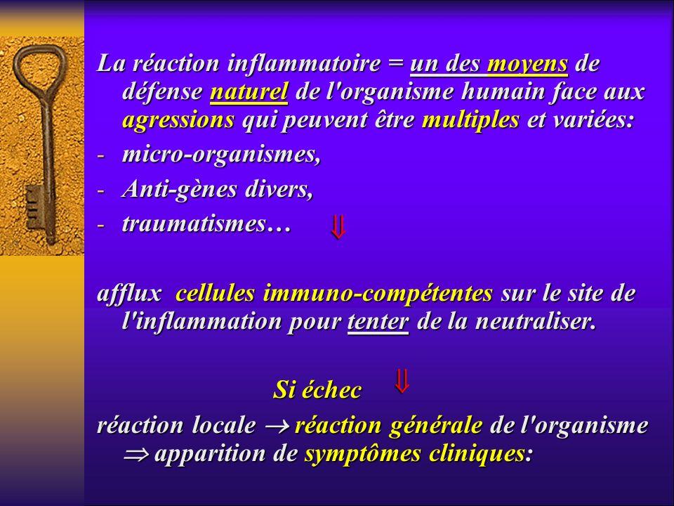 La réaction inflammatoire = un des moyens de défense naturel de l organisme humain face aux agressions qui peuvent être multiples et variées: