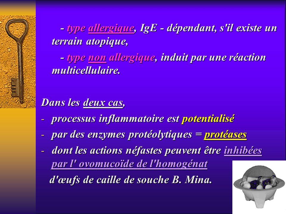 - type allergique, IgE - dépendant, s il existe un terrain atopique,