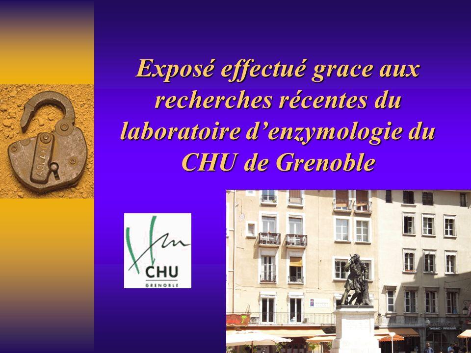 Exposé effectué grace aux recherches récentes du laboratoire d'enzymologie du CHU de Grenoble