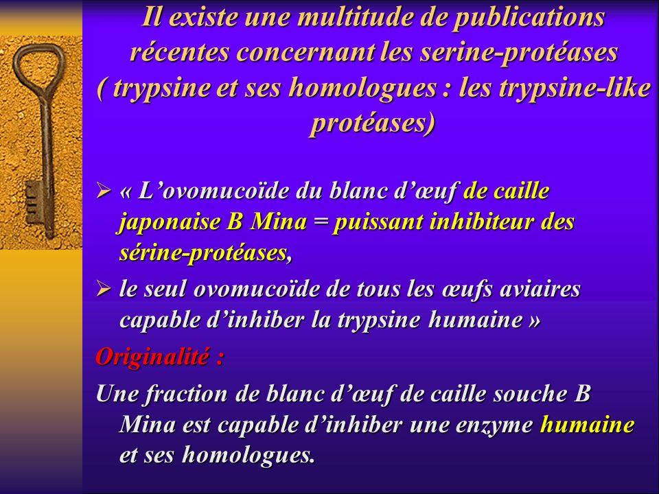 Il existe une multitude de publications récentes concernant les serine-protéases ( trypsine et ses homologues : les trypsine-like protéases)