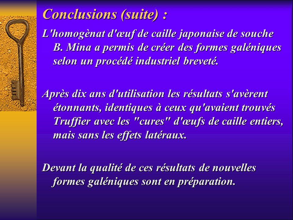 Conclusions (suite) :