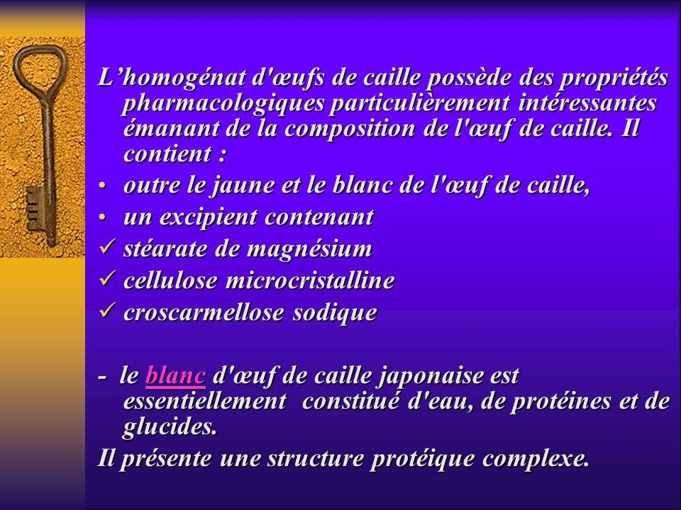 L'homogénat d œufs de caille possède des propriétés pharmacologiques particulièrement intéressantes émanant de la composition de l œuf de caille. Il contient :
