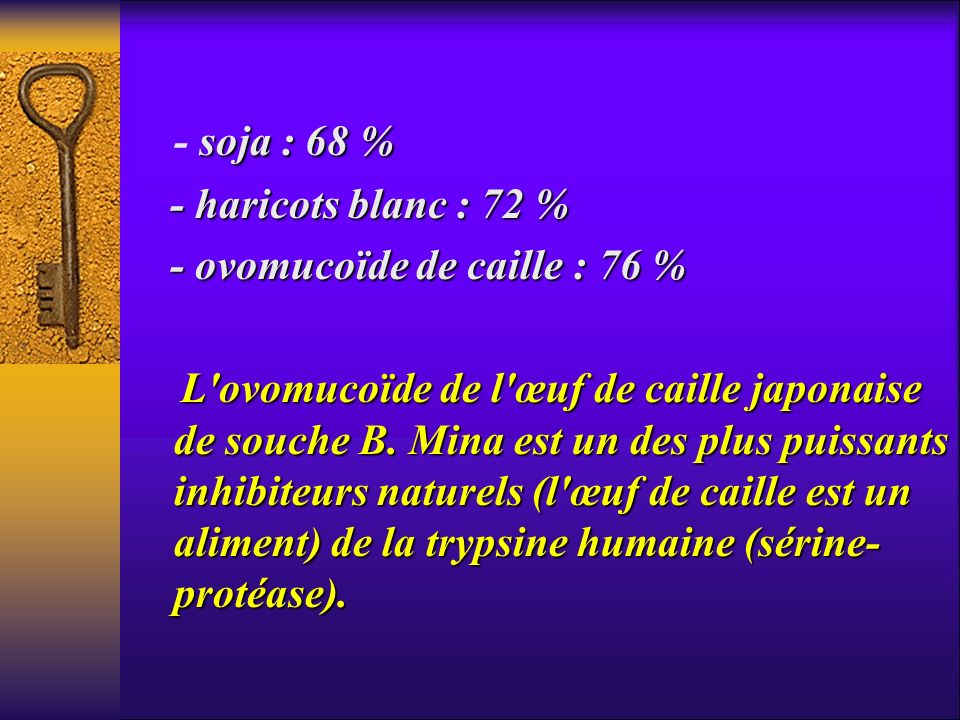 - soja : 68 % - haricots blanc : 72 % - ovomucoïde de caille : 76 %