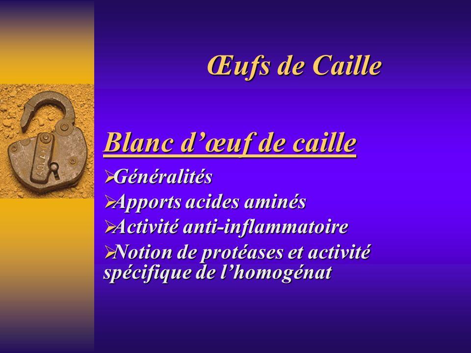 Œufs de Caille Blanc d'œuf de caille Généralités Apports acides aminés