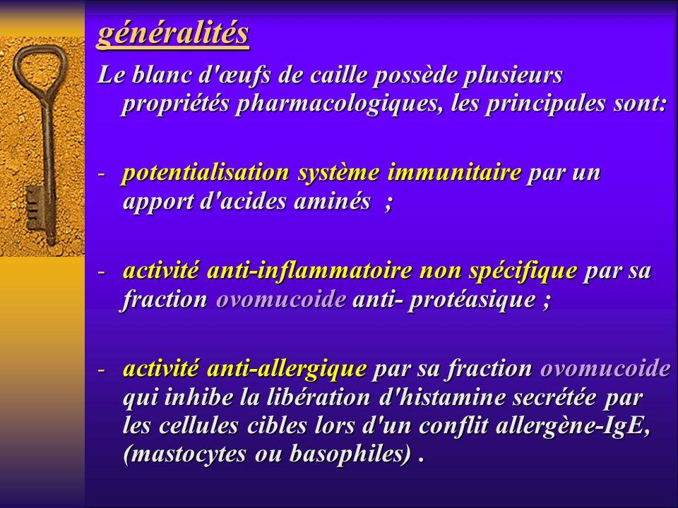 généralités Le blanc d œufs de caille possède plusieurs propriétés pharmacologiques, les principales sont: