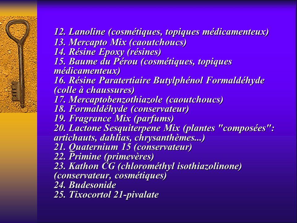 12. Lanoline (cosmétiques, topiques médicamenteux) 13