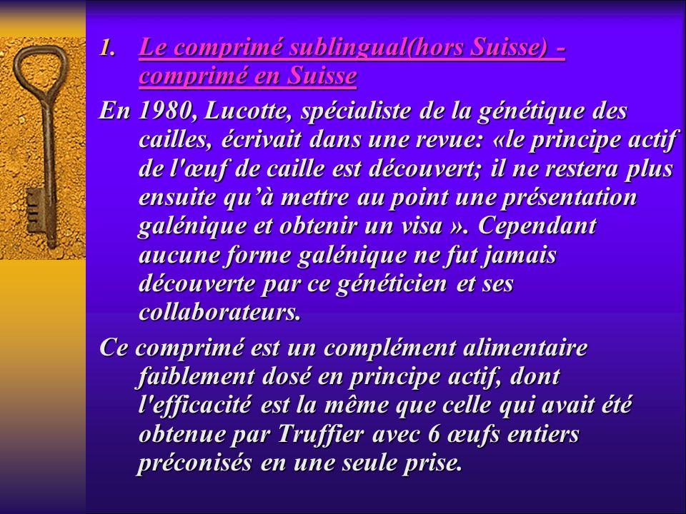 Le comprimé sublingual(hors Suisse) - comprimé en Suisse