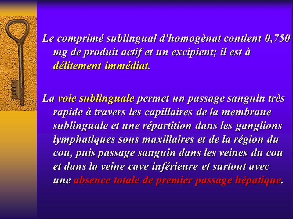 Le comprimé sublingual d homogènat contient 0,750 mg de produit actif et un excipient; il est à délitement immédiat.