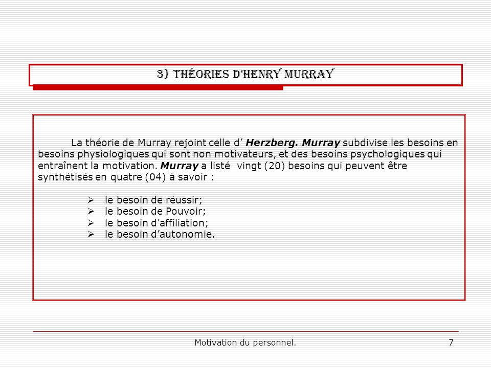 3) Théories d'Henry Murray