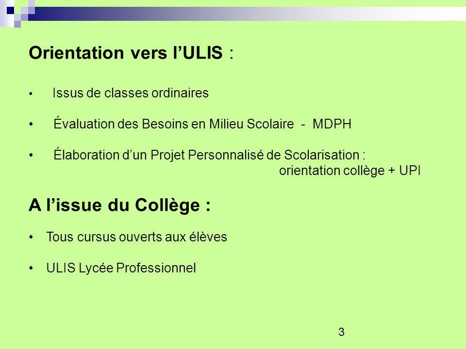 Orientation vers l'ULIS :