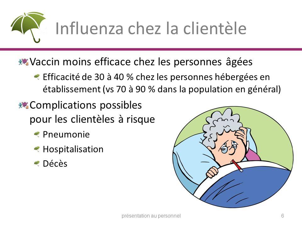 Influenza chez la clientèle