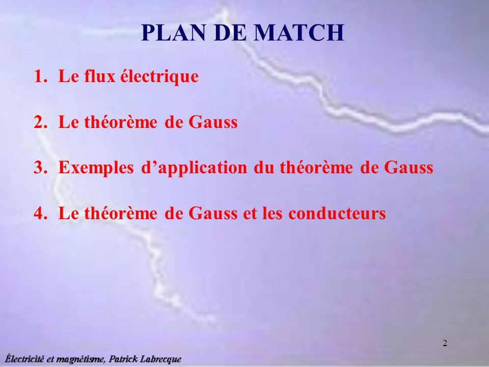 PLAN DE MATCH Le flux électrique Le théorème de Gauss