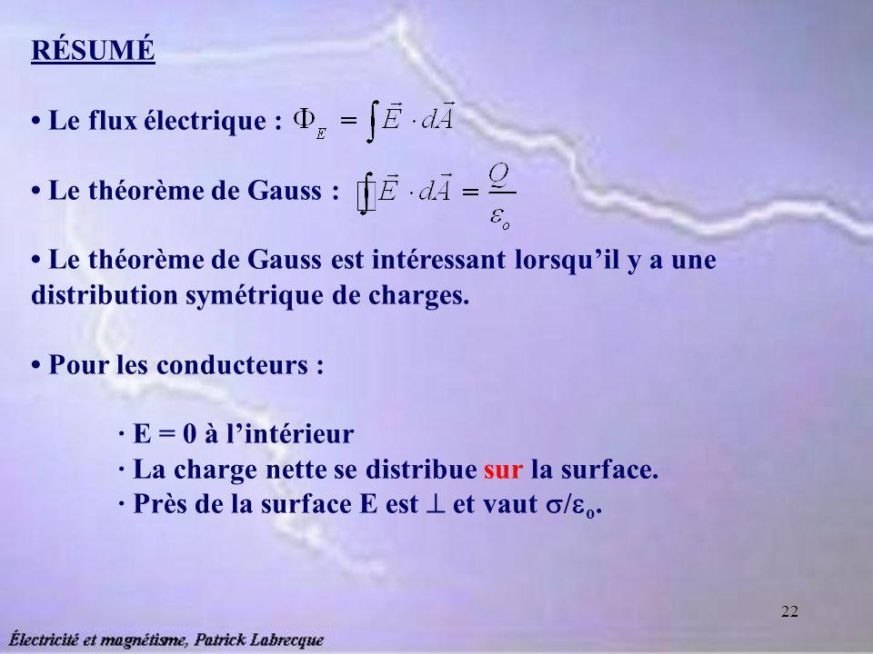 RÉSUMÉ • Le flux électrique : • Le théorème de Gauss : • Le théorème de Gauss est intéressant lorsqu'il y a une distribution symétrique de charges.